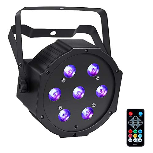 LED Par Lights, YeeSite 70W 7LEDs RGBW Stage Lights DMX and Remote Control for Church DJ Show Wedding Stage Lighting Christmas Party ()