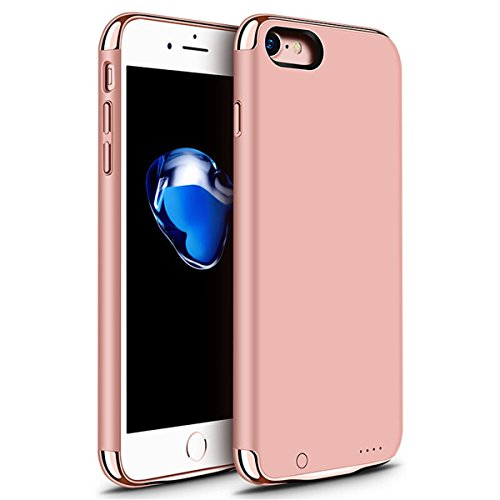 iPhone 6 6s 7 Battery Case, GIZEE Ultra Slim 3 In 1 Metal Textured 3500 mAh Portable Protective Charging Case for Apple iPhone 6 / iPhone 6S/ iPhone 7 4.7 Inch - Rose Gold
