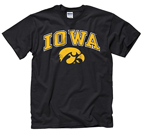 Campus Colors Iowa Hawkeyes Adult Arch & Logo Gameday T-Shirt - Black, Medium - Adult Short Sleeve Black T-shirt