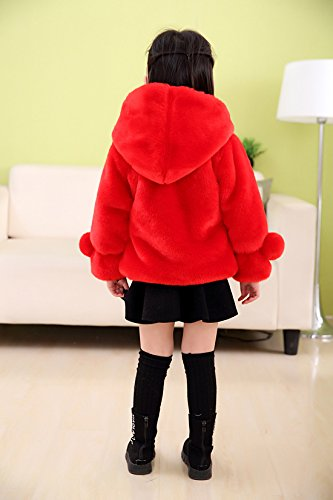 Girls Faux Fur Jacket Hooded Cloak Coat Thick Warm Winter Outerwear Princess Cape For 1-8 Years Kids by Gaorui (Image #3)