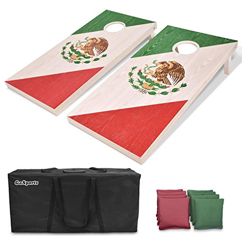 GoSports Mexico Regulation Size Solid Wood Cornhole Set - Mexican Flag - Includes Two 4