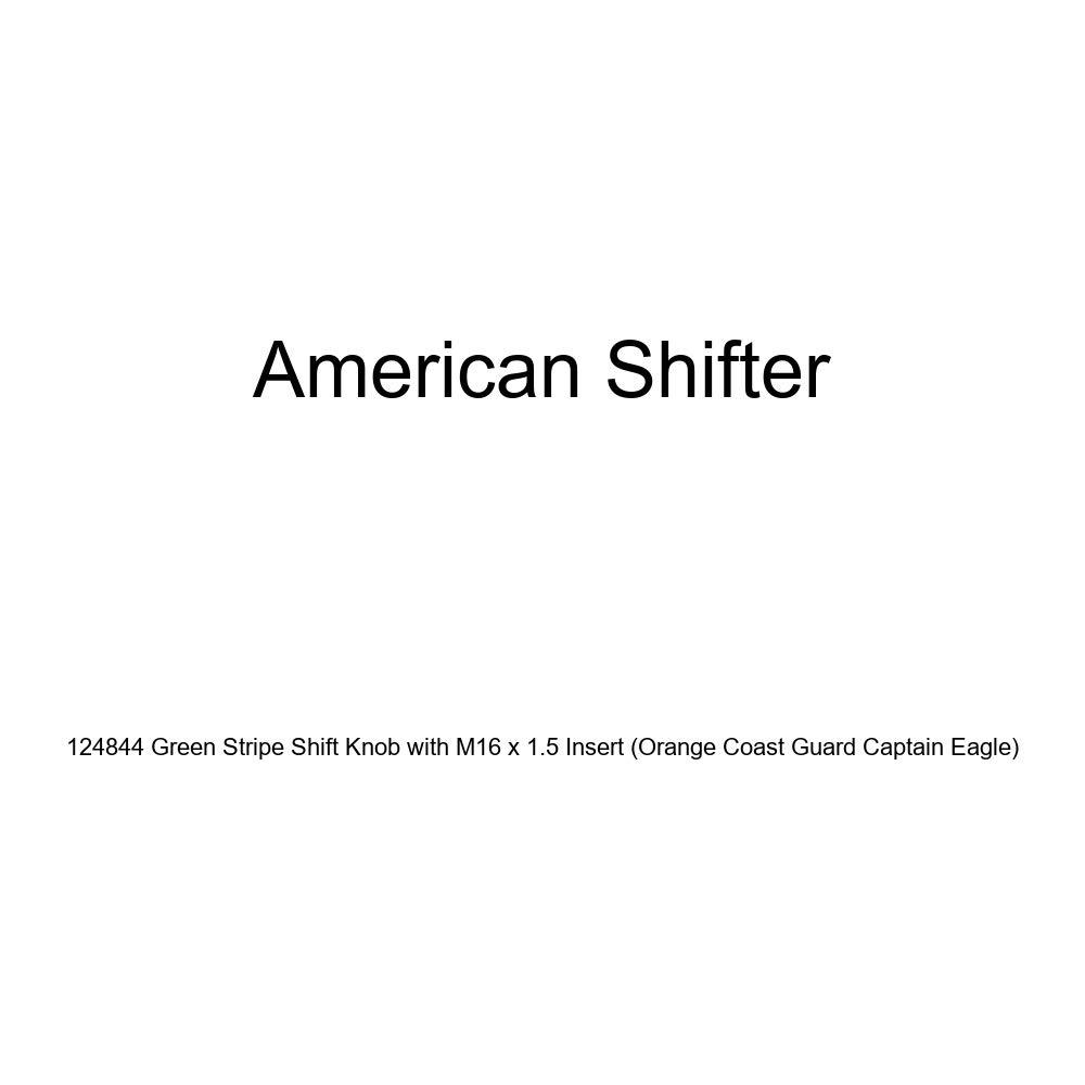 Orange Coast Guard Captain Eagle American Shifter 124844 Green Stripe Shift Knob with M16 x 1.5 Insert