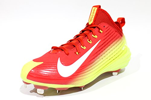 Nike Mens Lunar Ånga Öring Metall Baseball Dubbarna Vit / Volt / Universitet Röda