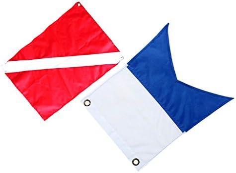 2個 スキューバ ダイビング 旗 安全 信号マーカー バナー ボートフラグ