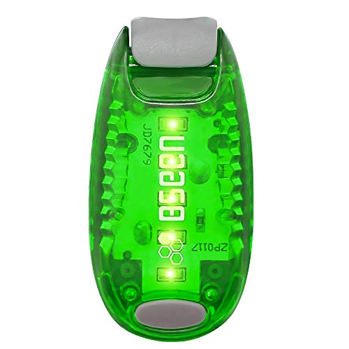 Bseen Led Safety Lights Clip On Strobe Light Running Cycling Bike Tail Dog Collar Warning Night Light Hight Visibility Accessories for Reflective Gear - Green