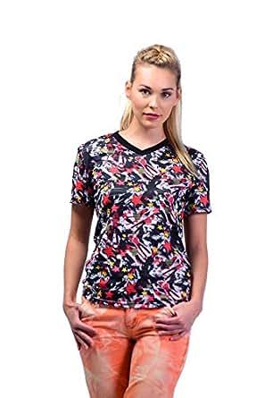 UUYUK Horizontal Sheer Stripes V-Neck T-Shirt For Women