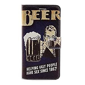 QJM Funny Beer and Ugly People Pattern PU Leather Case with Stand and Card Slot for iPhone 6 Plus