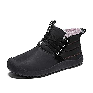 YQSL Mens Snow Boots Waterproof Winter Warm Shoes Fur Lined Ankle Booties Anti-Slip Outdoor Shoes for Men Black Blue