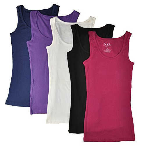 Price comparison product image N.Y.L Women's 5 Pack Ribbed Cotton Tank Tops-Assorted Color,  Medium