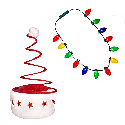(Holiday Christmas Santa Hat + LED Christmas Bulb Necklace Ugly Sweater Party Kit (LED Spring Hat + Necklace))
