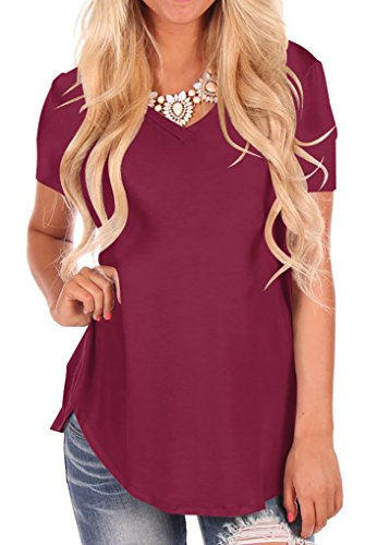 Niashot Women Solid Comfy Loose Fit Short Sleeve V Neck Lightweight Top Tee Burgundy XL