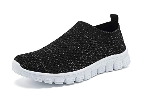 (EYUSHIJIA Women's Athletic Walking Shoes Casual Mesh-Comfortable Work Sneakers (10, Black-C))