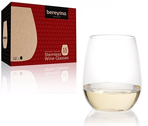 12 Stemless Plastic Wine Glasses – 15 oz. | Unbreakable Wine Glasses | Shatterproof Wine Glass | Plastic Drinking…