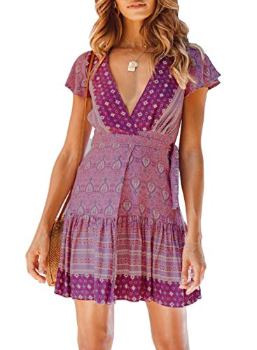 ZESICA Women's Summer Wrap V Neck Bohemian Floral Print Ruffle Swing A Line Beach Mini Dress Lavender ()