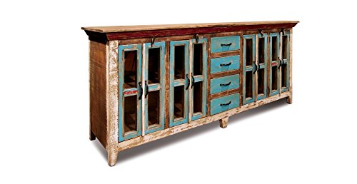 Crafters and Weavers Rustic Distressed Reclaimed Solid Wood 84″ Sideboard Cabinet Buffet Tv Console Multi Purpose Cabinet