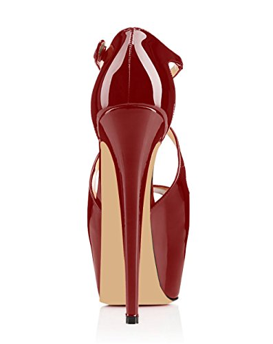 Toe Scarpe Scarpe Peep con col Strap Donna Tacco da Criss 15CM Classiche Scarpe elashe Bord Plateau Cross 8n1dq8