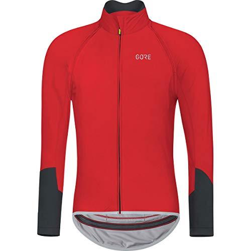 (GORE Wear Men's Windproof Long Sleeve Road Cycling Jersey, Removable Sleeves, GORE Wear C5 GORE Wear WINDSTOPPER Zip-Off Jersey, Size: L, Color: Red/Black, 100222)