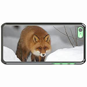iPhone 5C Black Hardshell Case snow forest winter Desin Images Protector Back Cover