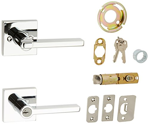 Kwikset 156HFLSQT-26S Halifax Square Entry Door Lock Smart Key Bright Chrome Finish