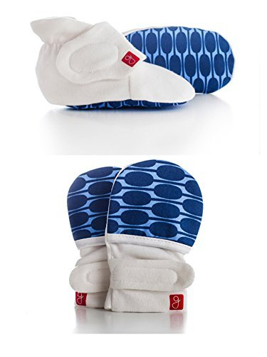 Organic Mitts & Booties Bundle, Soft Stay On Scratch Proof Mittens and Adjustable Baby Booties (Mod/Blue, 3-6 Months)