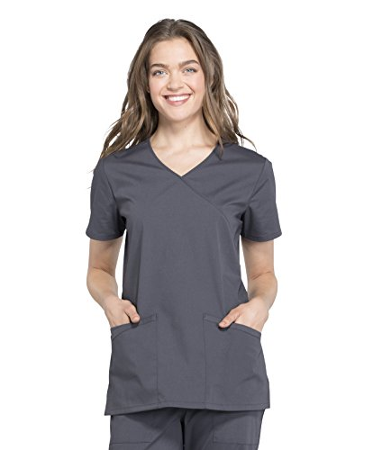 Shirttail Scrub (Cherokee Workwear Professionals WW665 V-Neck Top- Pewter- X-Small)