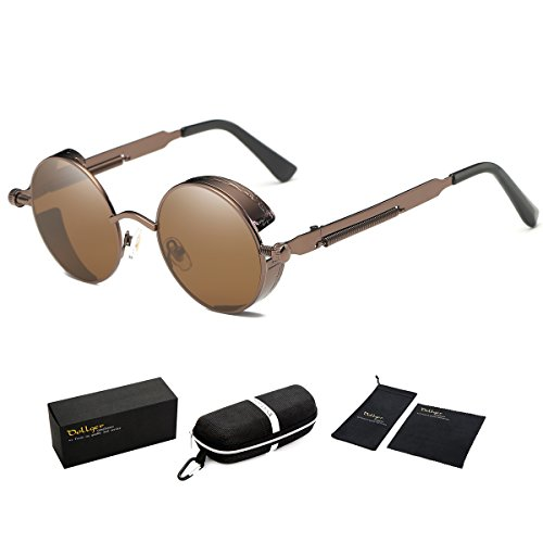 Dollger Vintage Steampunk Retro Metal Round Circle Frame Sunglasses Dark Brown - Circle Men Sunglasses Frame