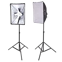 CowboyStudio New Design 2000 Watt Photo Studio Lighting Quick Setup Softbox Video Light Kit & Carry Case, N-2000WKIT
