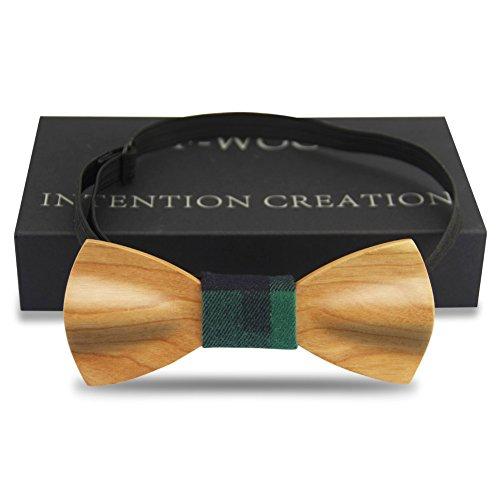 Bow Tie, Handmade Wood Self Tie Unique Wooden Carved Clothing Bowtie Gentlemen Pre Tied (Wood Bow Tie,cherrywood)