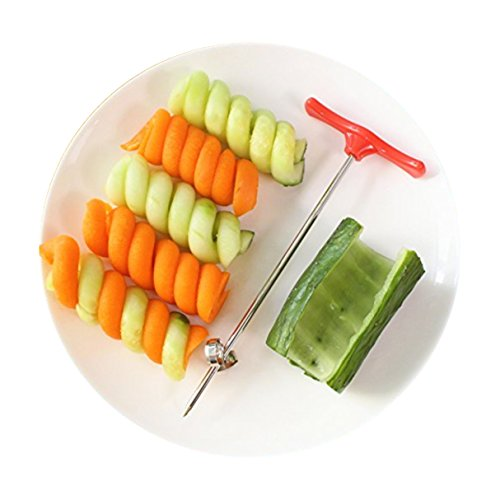 Vegetable & Fruit Pulp Roller, Cucumber zucchini Spiralizer Steel Knife, Stainless Steel Spiral Twist Knife, Creative Cold Dish Knife (Twin Curl Cutter)
