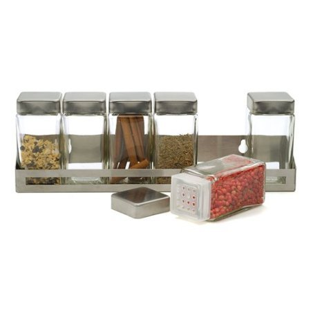 RSVP Endurance Stainless Steel Rectangular Spice Rack with 6 Glass Bottles