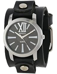 Nemesis Womens GB065KW Exclusive Collection Roman Black Leather Cuff Watch