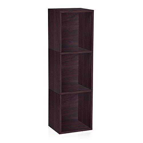 Basic 3 Shelf Bookcase - Way Basics Eco 3 Shelf Triple Cube Plus Narrow Bookshelf & Storage Bookcase Shelving, Espresso Wood Grain (Made from Sustainable Non Toxic zBoard paperboard)