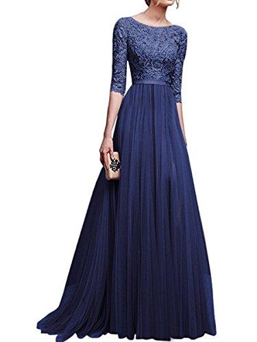 Coolred-femmes Dentelle Pure Mousseline Couleur Highwaist Amincissent Bleu Robe Maxi Longue