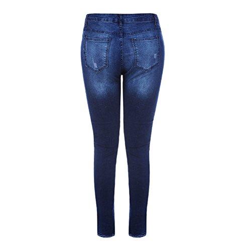 Fonc Dchir Trou Taille Bleu Jean en Crayon Dcontract LAEMILIA Femme Slim Pantalon Haute Long FRqaO