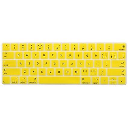 eDealMax portátil de silicona teclado sin hilos de la cubierta del Protector de la piel Amarillo