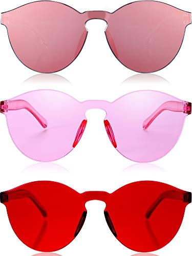 Blulu Round Rimless Sunglasses Tinted Eyewear Transparent Candy Color Sunglasses (3 Pieces, Color Set ()