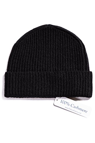 Fishers Finery Men's 100% Cashmere Ribbed Hat; Cuffed; Super Soft (Black),One Size Fits -