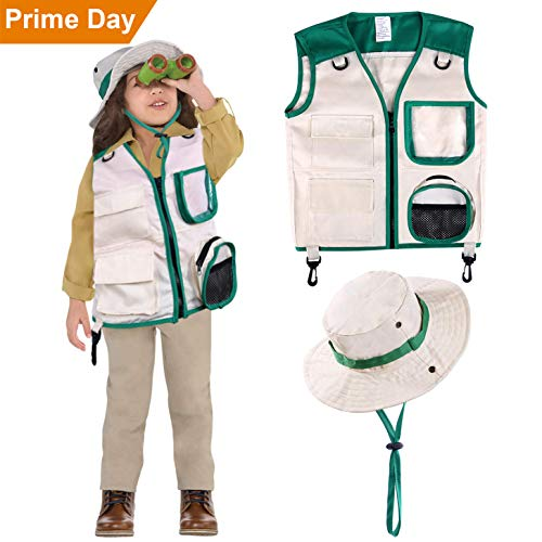 Safari Costume Cargo Vest and Hat for Kids, Outdoor Explorer Kits and Role Play for Park Ranger, Paleontologist, Zookeeper, Jane Goodall Costume,Great Backyard Safari Gift for Adventure Boys and Girls -