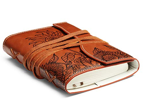 Unique Writing Journal Gifts-Personalized Brown Vegan Leather Bound Notebook-Refillable Embossed B6 Unlined/Blank Diary-Beautiful Daily Use Gifts for Men & Women/Vegetarians/Teen Girls & Boys (Journal Leather Embossed)