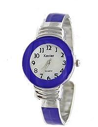 Women's Classic Chrome and Purple Bangle Cuff Watch