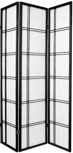 Legacy Decor 3 and 4 Panel Room Dividers in Black, Cherry, Natural, and White Color. 3 Panel Black Room Divider