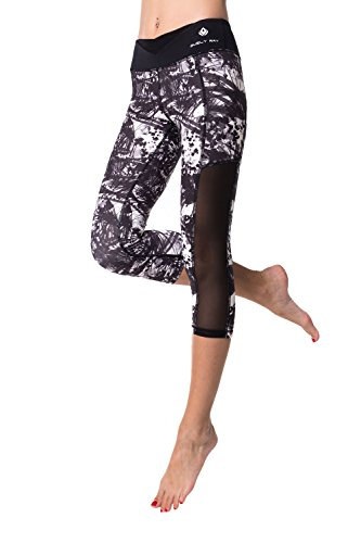 ELECTRA Printed w Mesh Cutout, Black V Cut Waist Capris Active Leggings, Crops, Yoga Pants for Sports Spin Workout Fitness Gym Running Walking Training