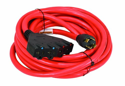 Powermate PA0650193 25-Foot 30 Amp 10 Gauge 4 120 Volt Outlet Generator Power Cord