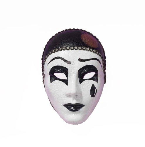 Forum Pierrot Mask, White/Black, One Size