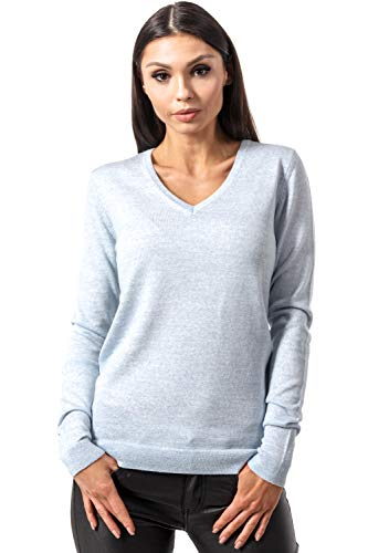 KNITTONS Women's Wool Classic Slim Fit V-Neck Sweater Pullover (X-Small/US 0-2, Sky Blue Melange)