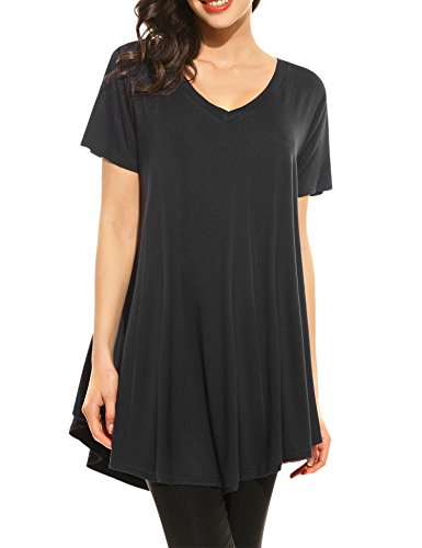 HOTOUCH Women's Short Sleeve A-line Casual Tunic Tops Dress (Black L)