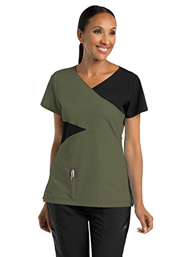 Barco Grey's Anatomy Signature 2140 Contrast Mock Wrap Top Olive/Black XL (Wrap Mock Signature Top)