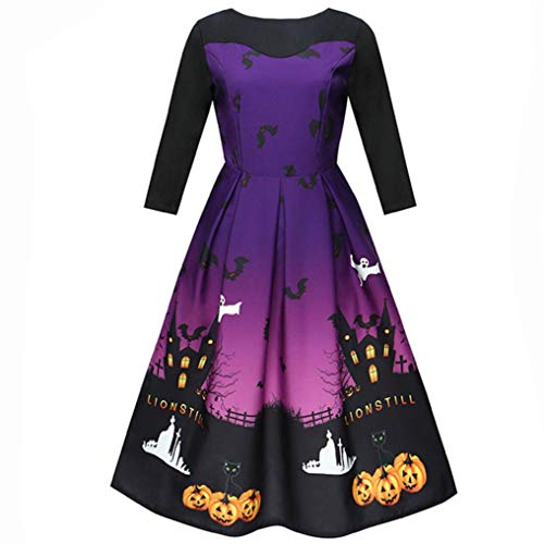 Pumsun ⭐️ Women Halloween Printing Three Quarter Casual Evening Party Prom Swing Dress (XL, -
