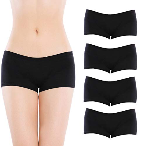 Closecret Lingerie Women's Comfort Soft Low Rise Cotton Boyshorts Panties(4 Black, L(Waist: 30-32 ()