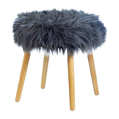 Fluffy Stool, 4-legged Contemporary Dorm Furniture Footstool - Faux Fur, Wood by Accent Plus